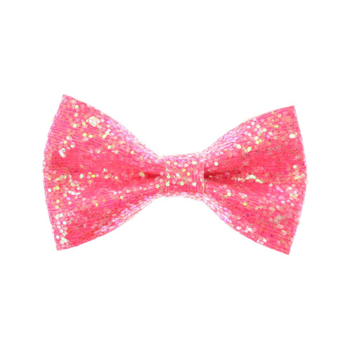 Neon Pink Glitter Small Bow Hair Clip Hair Bows Your Fave S All