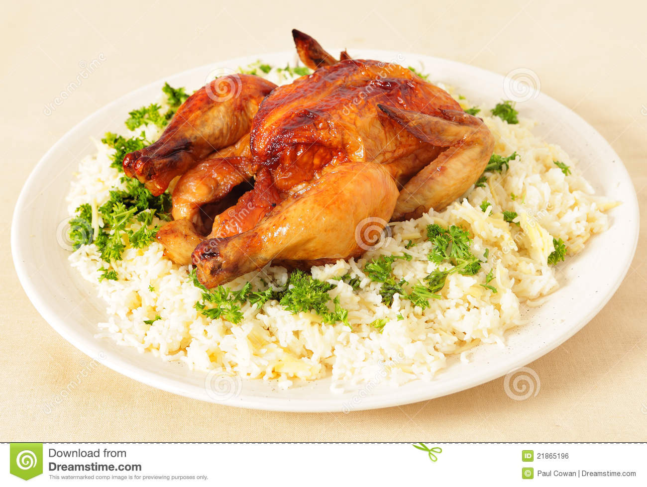 Roast Chicken And Rice Side View Royalty Free Stock Image Image