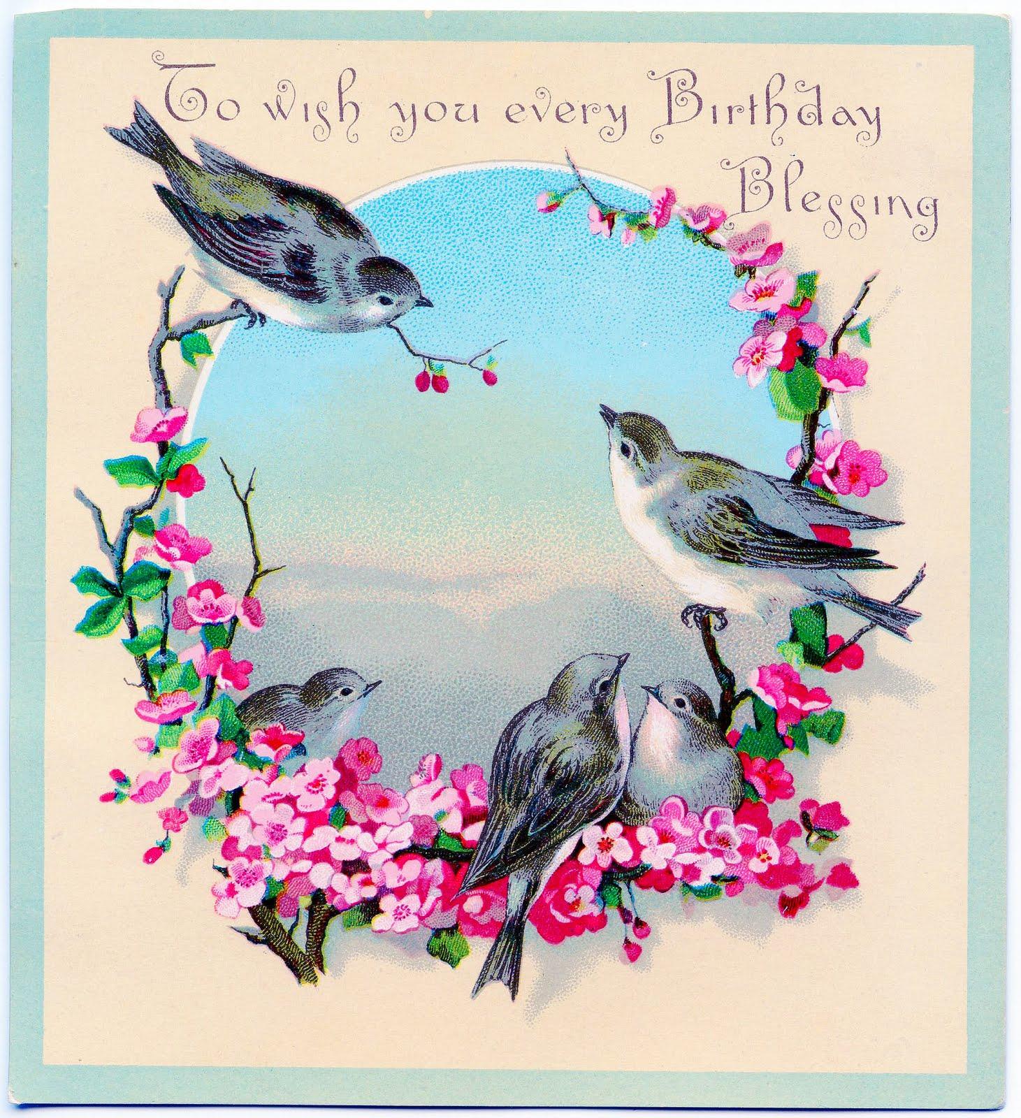 Sweet Birds With Flowers   Birthday Greeting   The Graphics Fairy