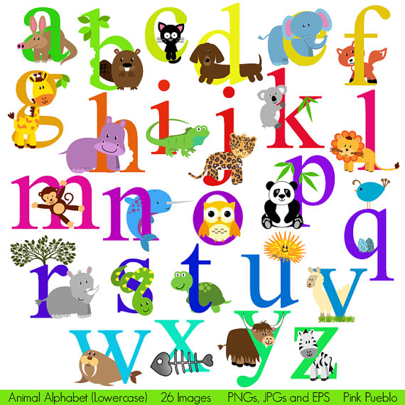 Animal Alphabet Font With Safari Jungle Zoo Animals Lowercase