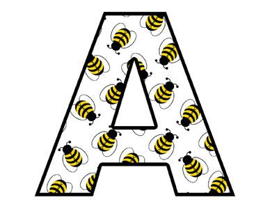 Bee Alphabet Letters Wall Decals Decor Baby Nursery Kids Room Name St