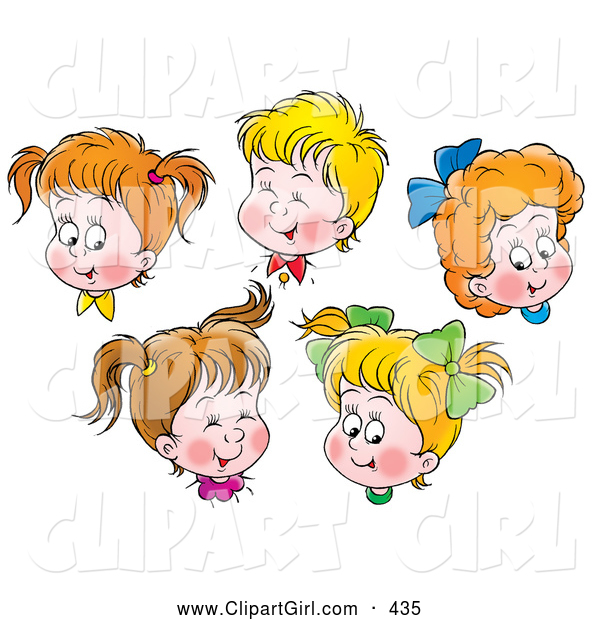 Clip Art Of A Group Of Happy Boys And Girls Giggling And Smiling By