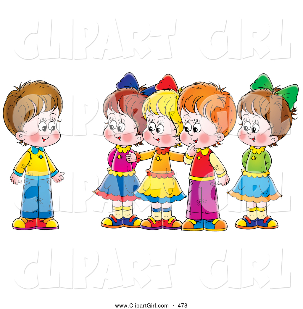 Clip Art Of A Group Of Smiling Children Welcoming A New Friend By Alex