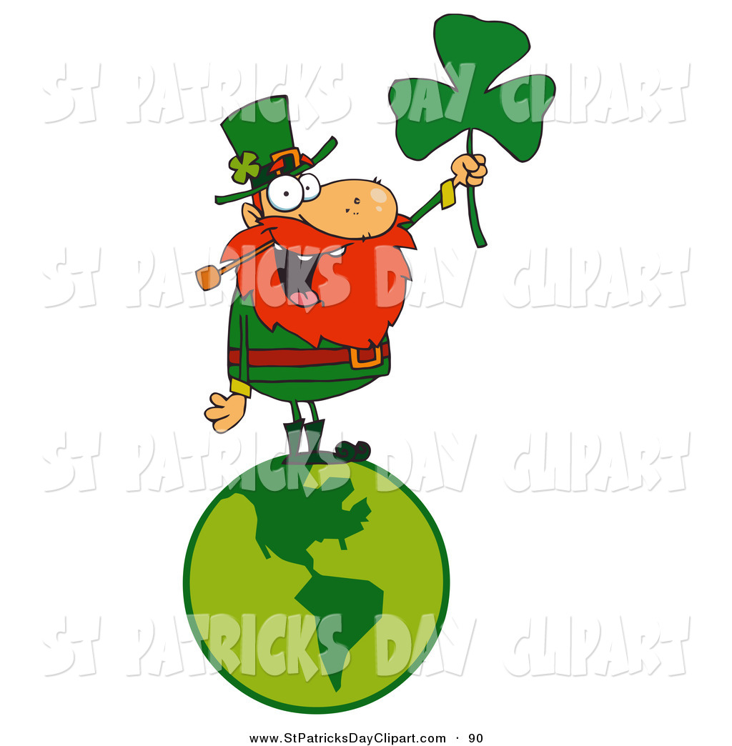 Clip Art Of A Male Irish Leprechaun Standing On A Globe And Holding Up