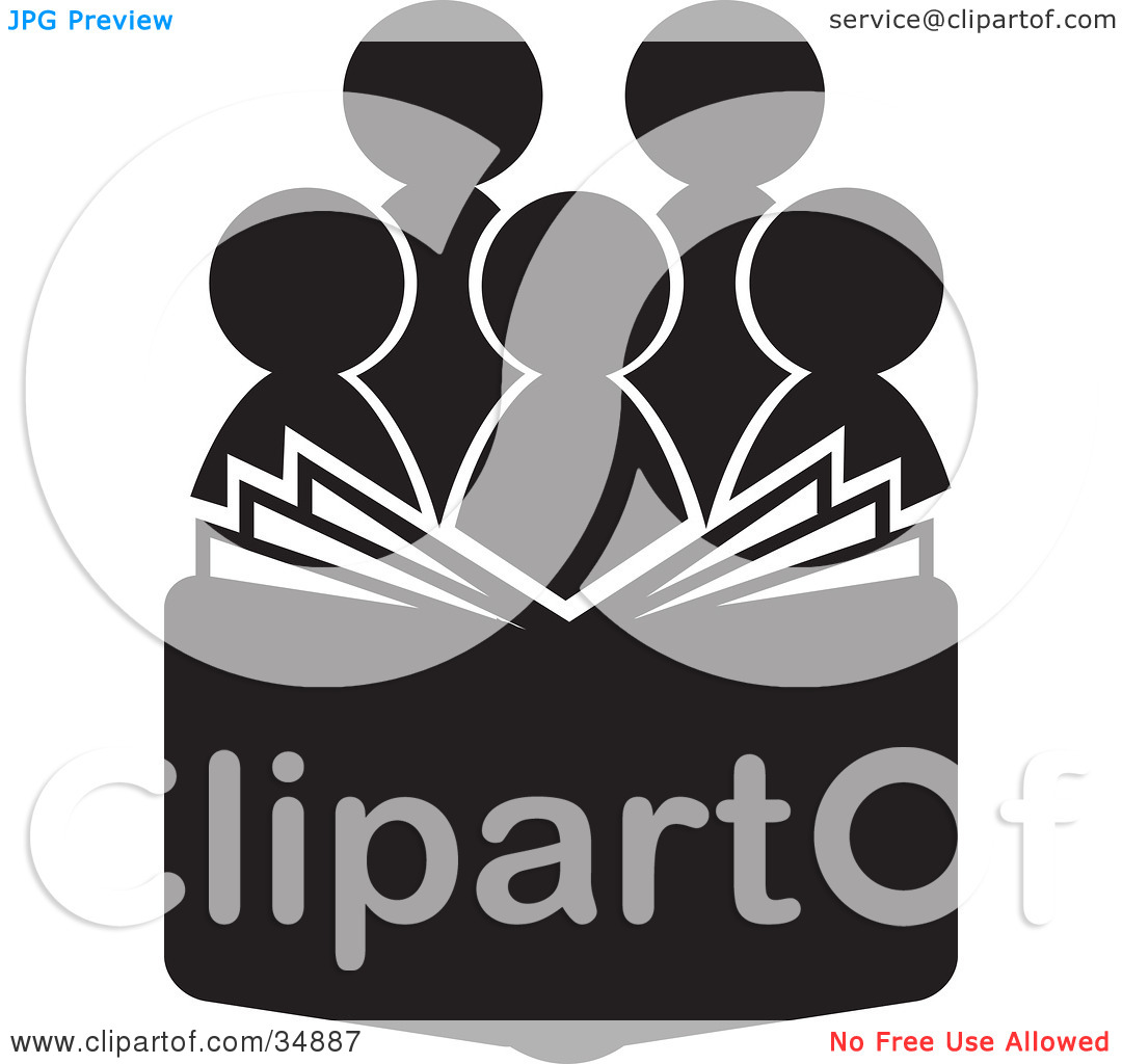 Clipart Illustration Of A Group Of Silhouetted Choir Or Church Members