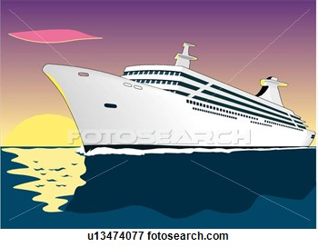 Cruise Ship View Large Clip Art Graphic