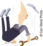 Falling Worker   Comic Worker Is Falling Down From High