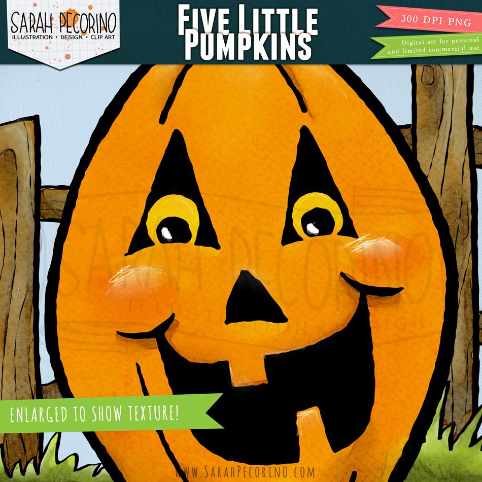 Five Little Pumpkins Clip Art By Sarah Pecorino