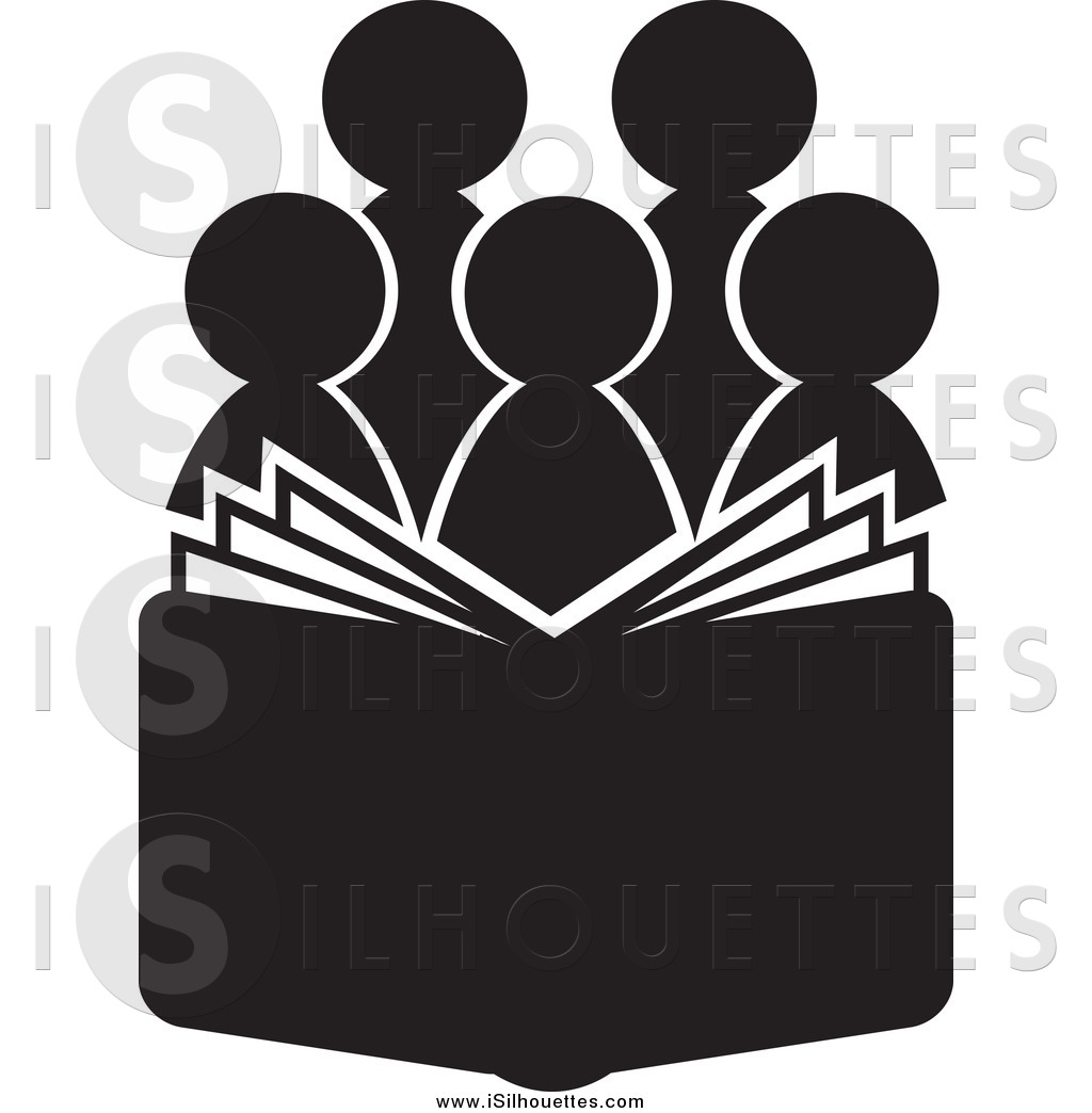 Larger Preview  Clipart Of A Silhouetted Choir Behind An Open Book Or