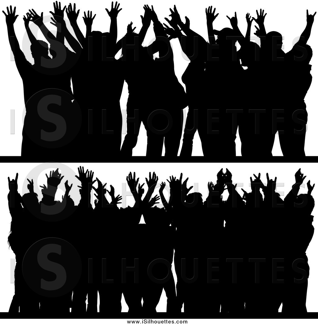 Larger Preview  Clipart Of Silhouetted Crowds With Their Hands Up By