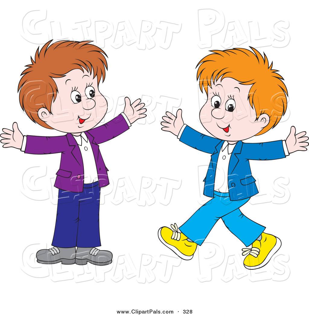 Pal Clipart Of A Couple Of Happy Boys Walking Toward Each Other With