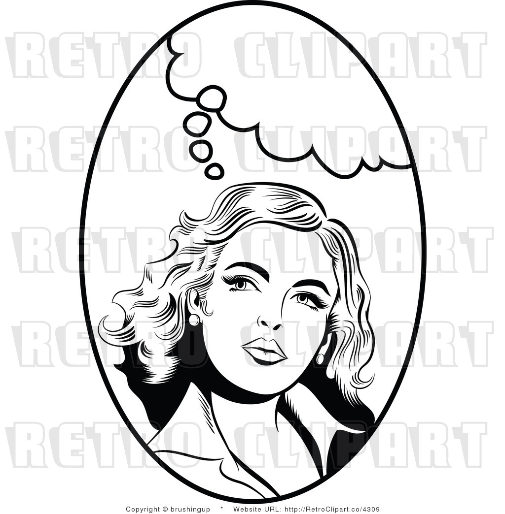 Thoughtful Pop Art Woman Black And White Clipart By Brushingup    4309