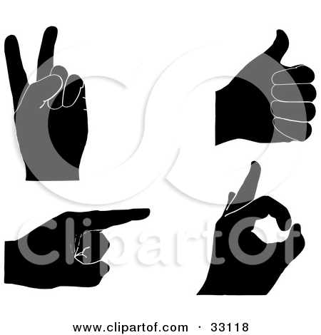 Thumbs Pointing Clipart Clipart Illustration Of A Set