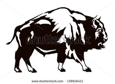 Bison Clip Art Black And White The Black Figure Of A Bison On