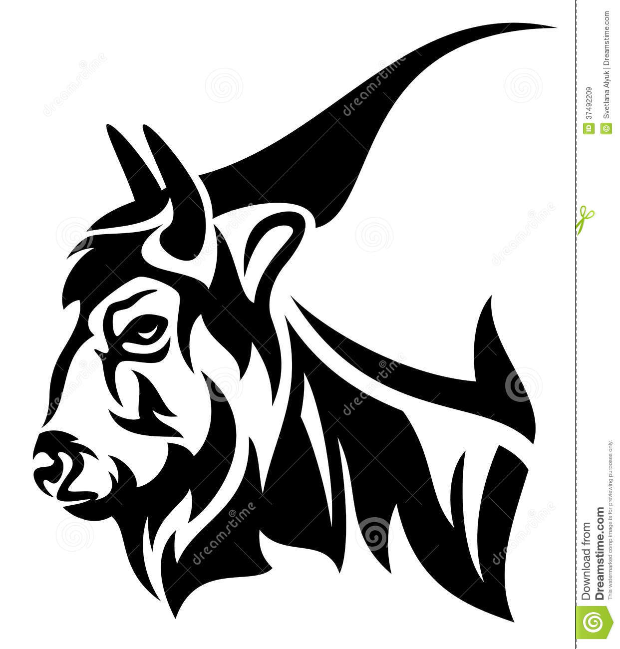 Bison Profile Head Design   Black And White Outline