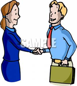 Businessman And Woman Shaking Hands Clip Art Image