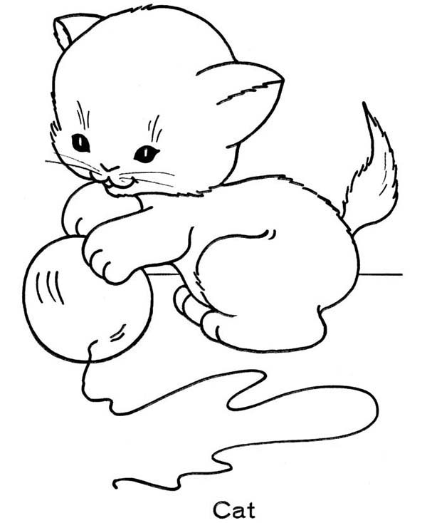 Cat   A Cute Kitty Cat Playing With A Ball Of String Coloring Page