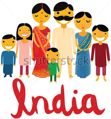 Clip Art India Clipart family in india clipart kid landmarks happy large indian with hand written font