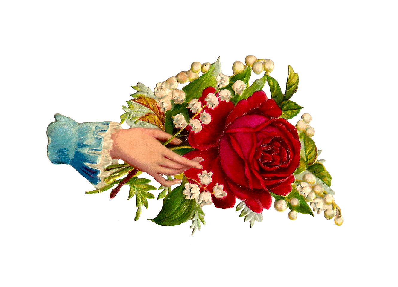 Red Rose And Lily Of The Valley Graphic Victorian Scrap Hand Whimsy