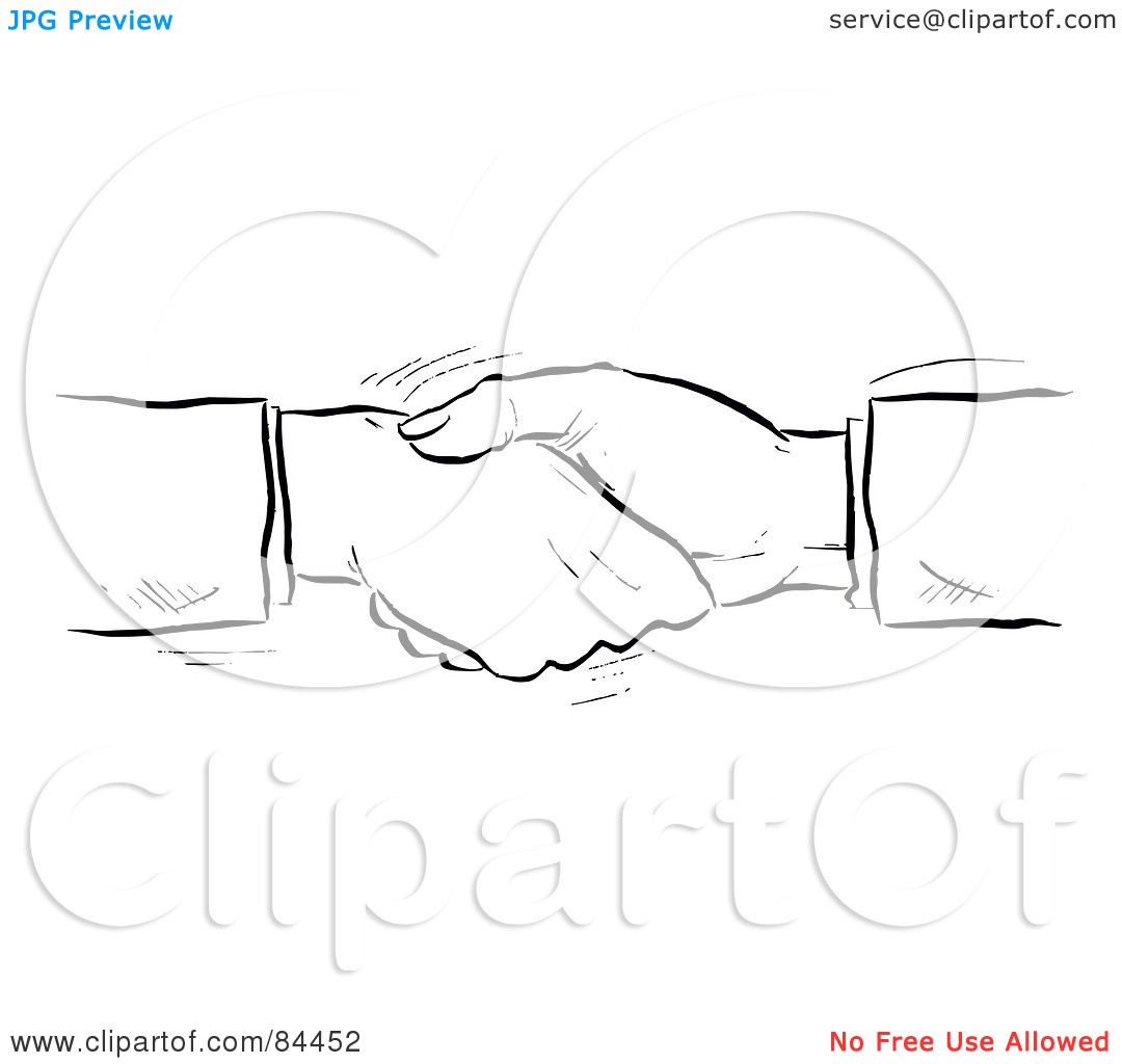 Rf  Clipart Illustration Of A Black And White Sketch Of Shaking Hands