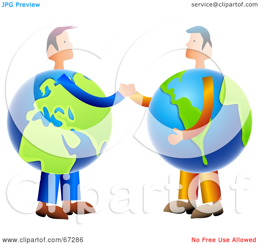Rf  Clipart Illustration Of Globe Businessmen Shaking Hands By Prawny