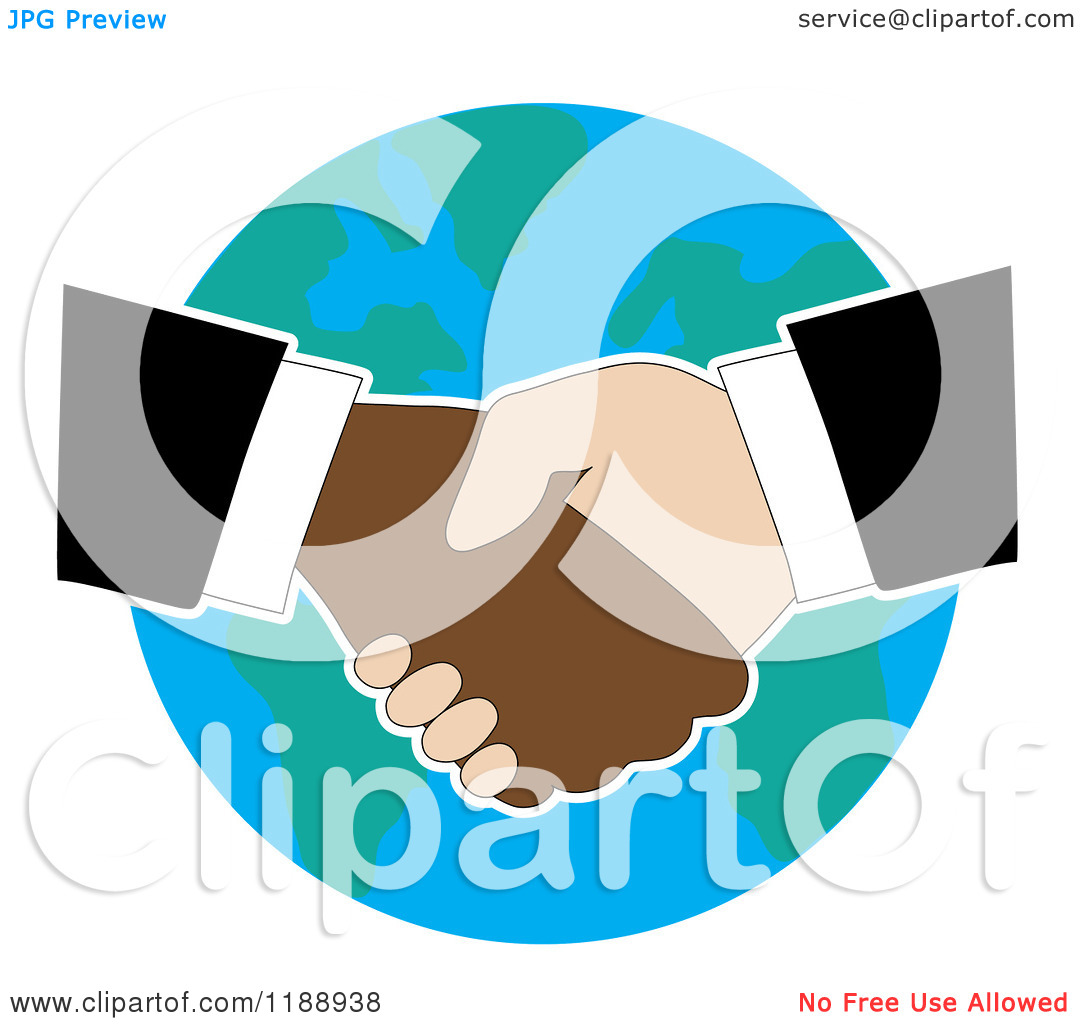 Shaking Hands Over Earth   Royalty Free Vector Clipart By Maria Bell