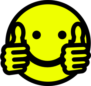 Thumbs Up Smiley Face With Black And White Clipart ...