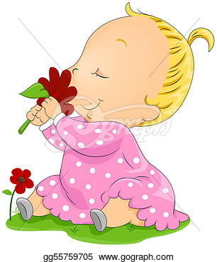 Stock Illustration   Baby Smelling Flower With Clipping Path  Clip Art