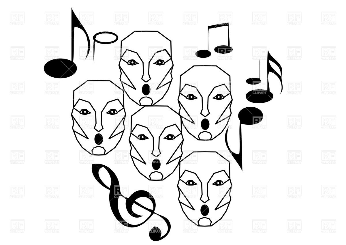 Abstract Choir   Outlines Of Singing Faces With Notes 37902 Download