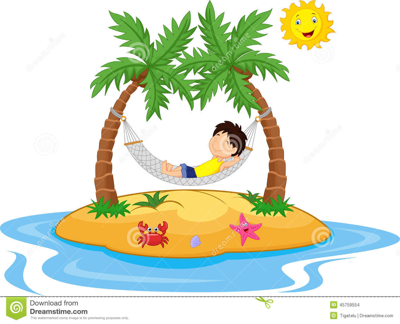 Boy Cartoon Relaxing In A Hammock Stock Vector   Image  45759554