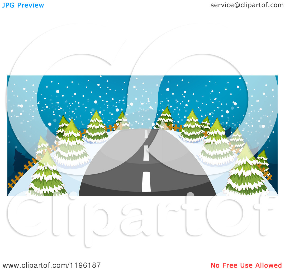 Cartoon Of A Straight Road Leading Through A Snowy Night Landscape