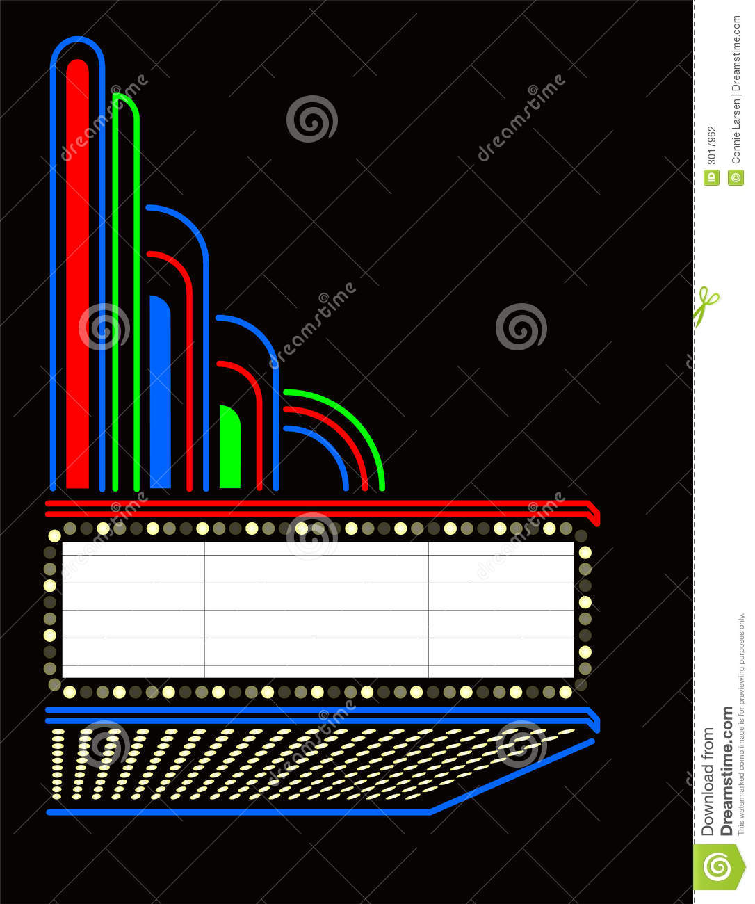 Illustration Of An Exterior Overhead Marquee Of A Theater   Suitable