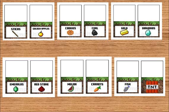 Minecraft Food Cards Free Printable