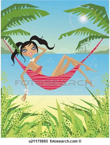 Of Woman Relaxing On A Hammock By The Beach U21179885   Search Clipart