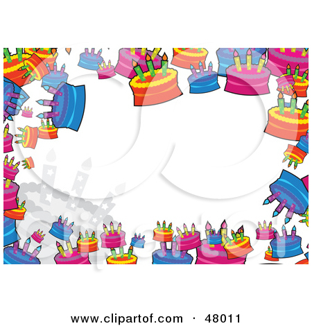 Rf  Clipart Illustration Of A Colorful Stationery Border Of Birthday