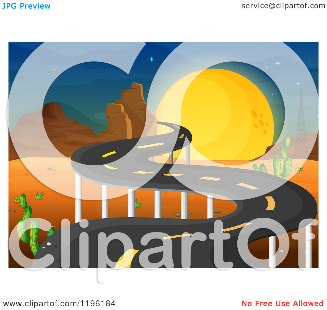 Road Leading Through A Desert At Night   Royalty Free Vector Clipart