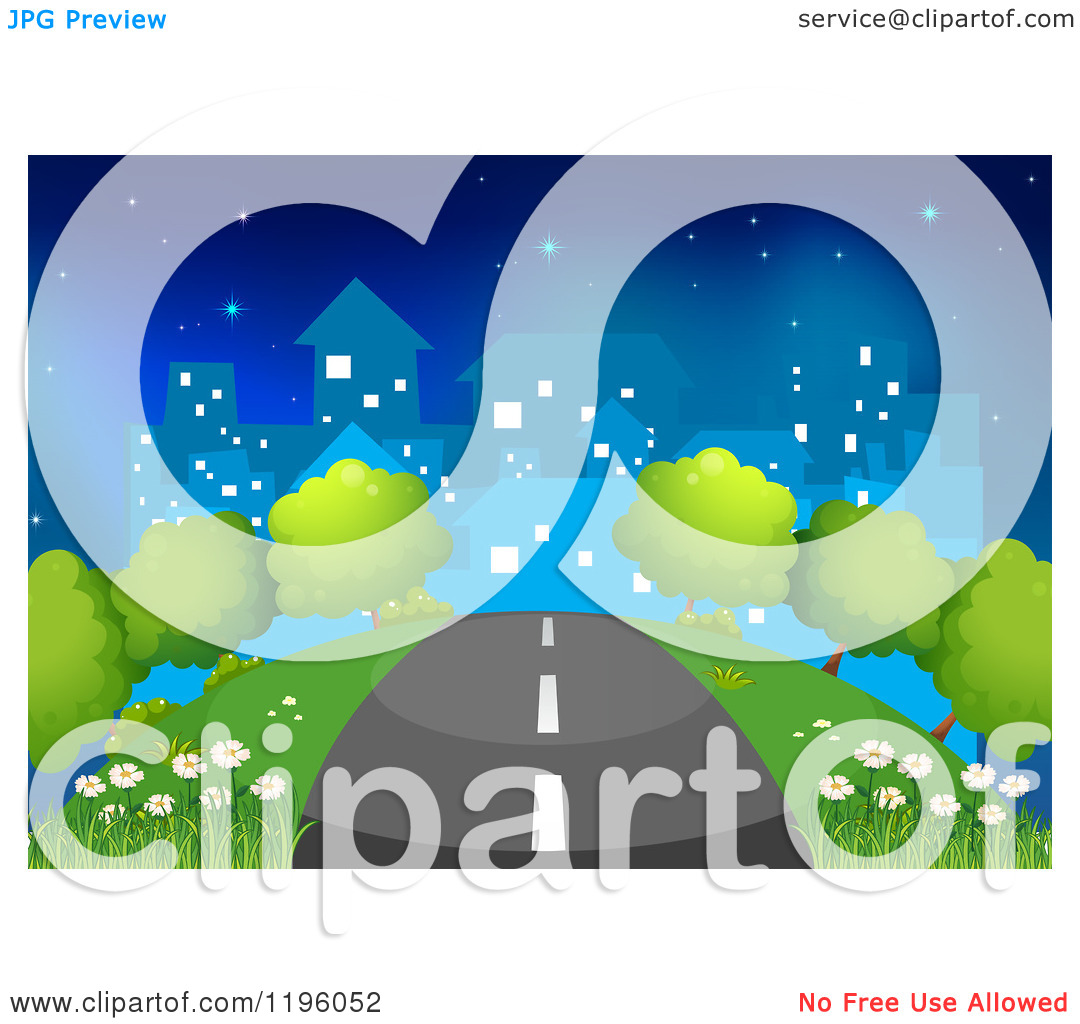 Straight Road Leading To A City At Night   Royalty Free Vector Clipart