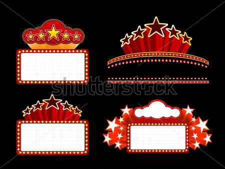 Textures   Retro Illuminated Movie Marquee Blank Sign  Vector Set