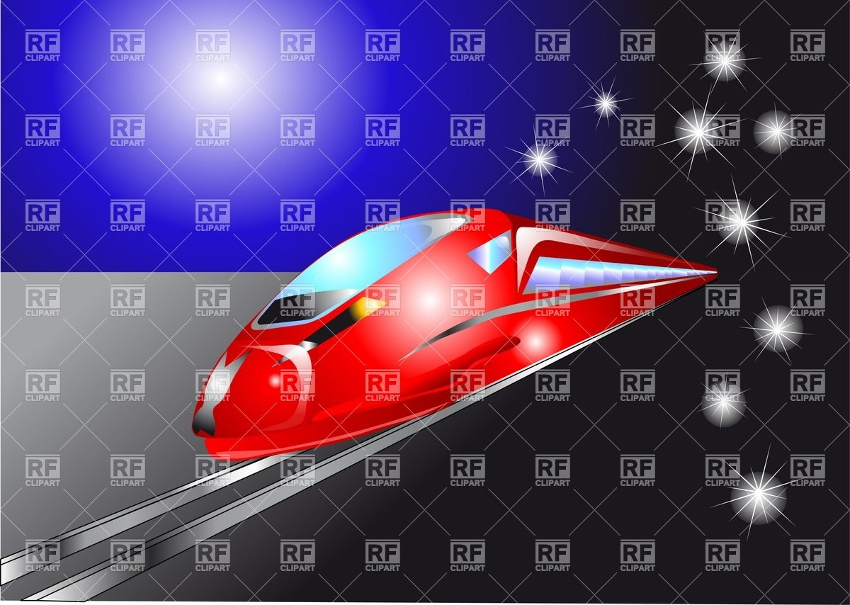 Train On The Night Road Download Royalty Free Vector Clipart  Eps