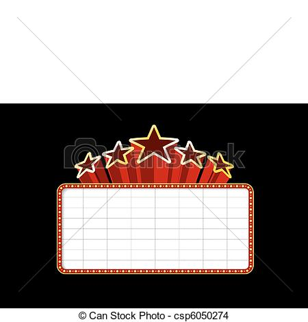 Vector   Blank Movie Theater Or Casino Marquee   Stock Illustration