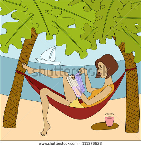 Woman In Hammock Clipart Brunette Woman Reading