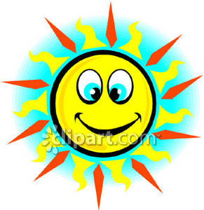 Cross Eyed Sun   Royalty Free Clipart Picture