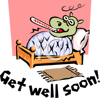 Get Well Soon Message With A Cartoon Of A Hippo Sick In Bed   Royalty