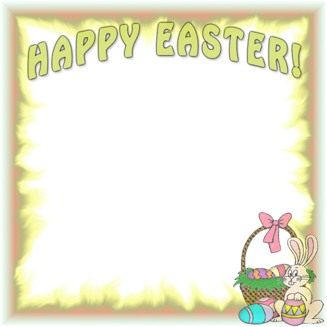 Happy Easter Border With The Easter Bunny And Basket Of Eggs 642 X