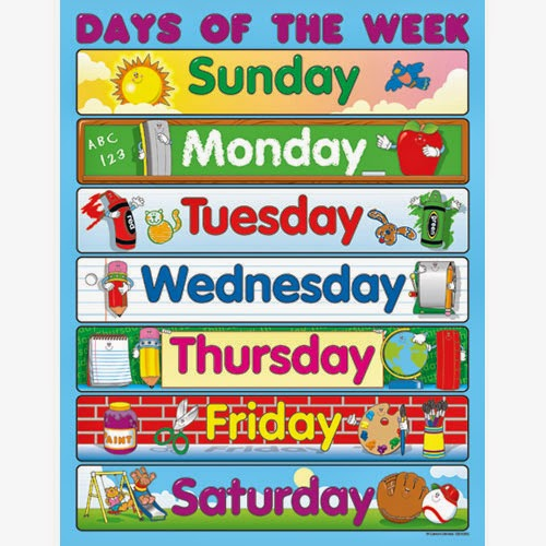 In English    Tim Acad Mia D Angl S  Days Of The Week  Memory Game