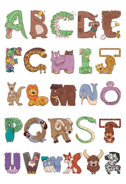 bendy zoo alphabet animals art print by drake sauer society6