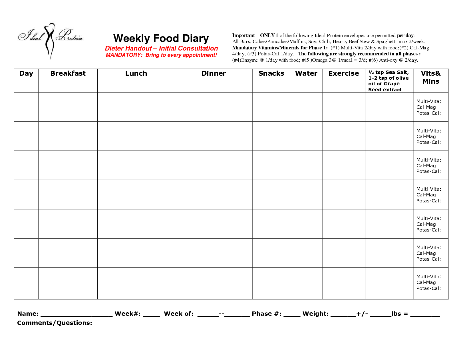 Weekly Food Diary Clipart - Clipart Suggest