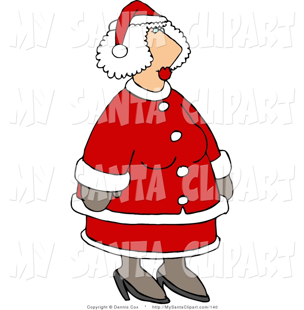 Christmas Clip Art Of Mrs Claus In Her Red And White Suit Waiting To