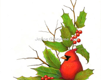 Clip Art Christmas Border With Card Inal Bird And Holly Instant