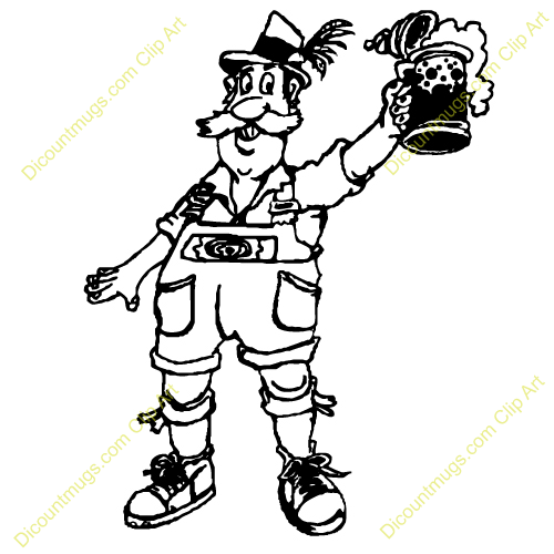 Clipart 12399 Man Cheers With Beer   Man Cheers With Beer Mugs T